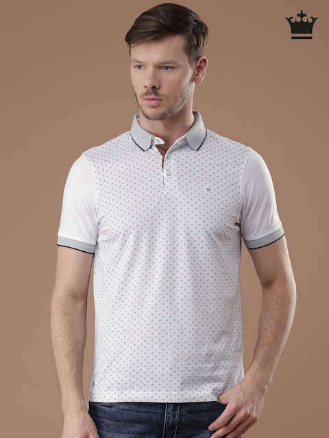 Louis Philippe Men White & Black Striped Tailored Fit Polo Collar T-shirt