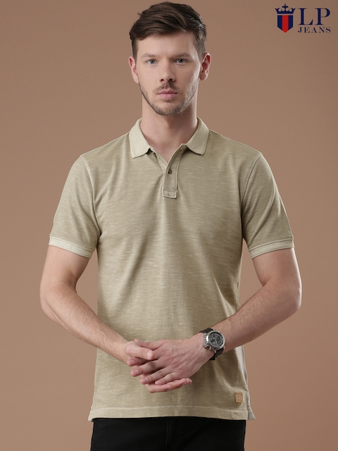 Louis Philippe Jeans Men Khaki Solid Polo T-Shirt  available at myntra for Rs.1499