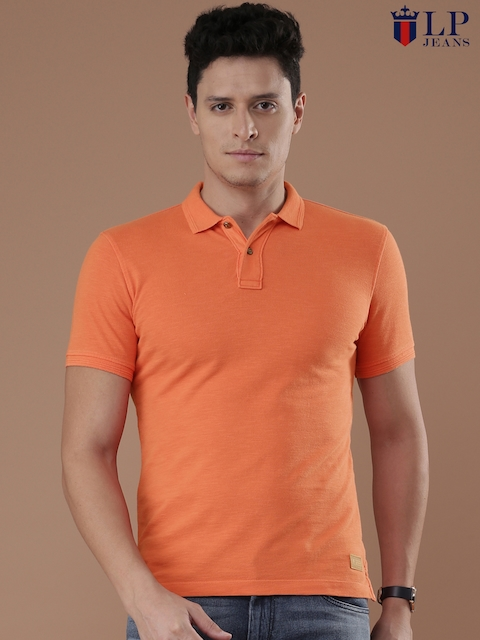 Louis Philippe Jeans Men Orange Solid Polo T-Shirt  available at myntra for Rs.1499