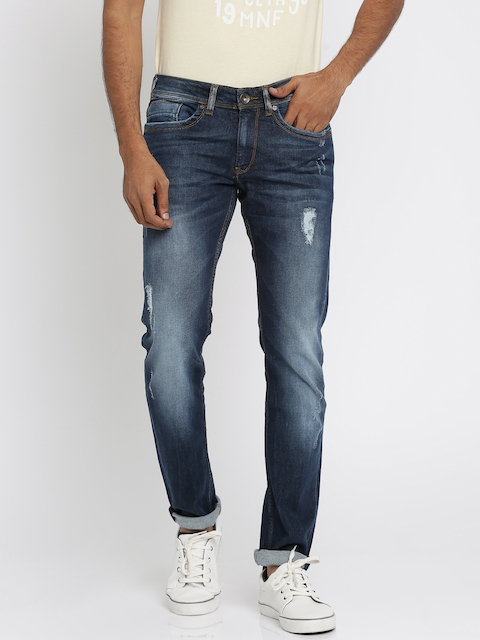 Pepe Jeans Men Blue Oliver Fit Mid-Rise Mildly Distressed Stretchable Jeans