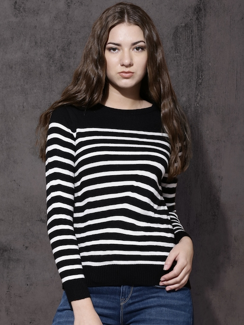 Roadster Women Black & White Striped Pullover  available at myntra for Rs.499