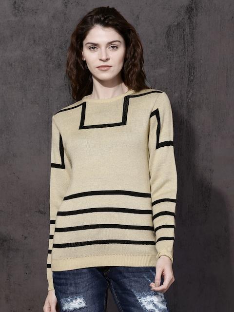 Roadster Women Beige Self Design Pullover