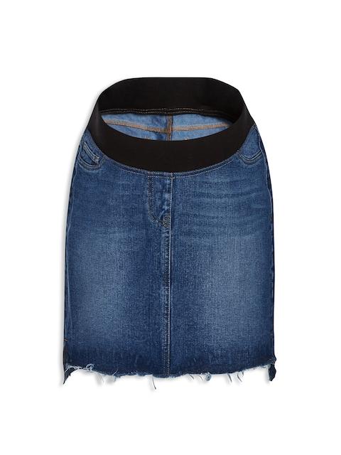 next Blue Maternity Step Hem Denim Skirt