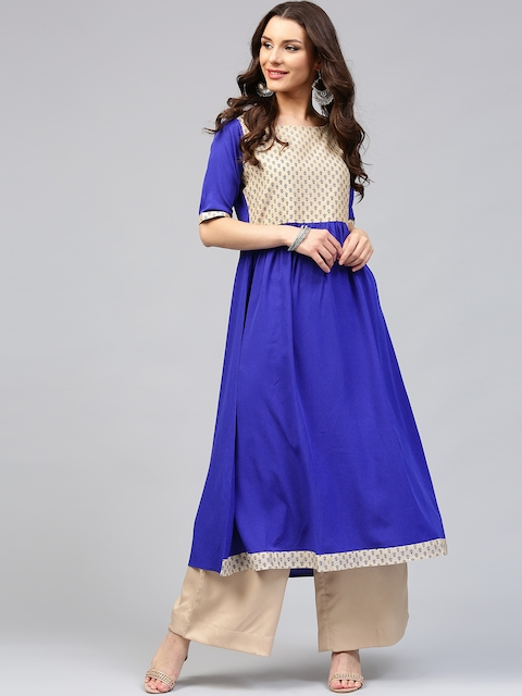 Libas Women Blue & Beige Printed Anarkali Kurta  available at myntra for Rs.259