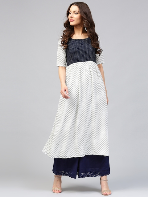 Libas Women White & Navy Printed Anarkali Kurta  available at myntra for Rs.399