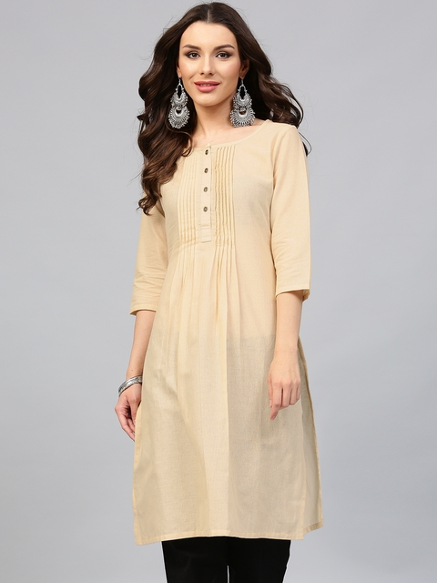 Libas Women Beige Solid Straight Kurta with Tucks  available at myntra for Rs.384