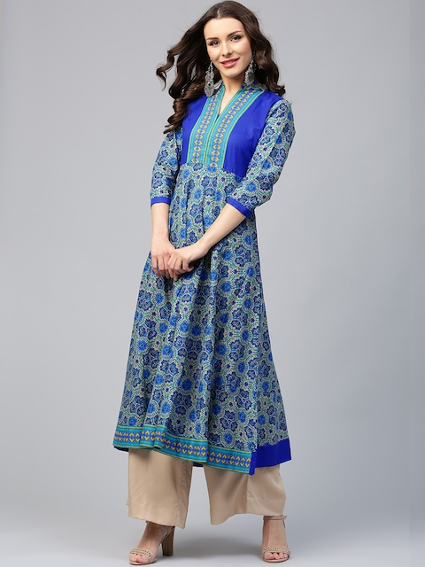 Libas Women Blue Printed Anarkali Kurta  available at myntra for Rs.599