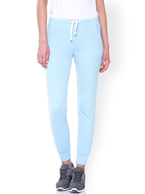 pink woman Blue Jogger Track Pants