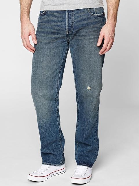 Next Men Blue Distressed Jeans