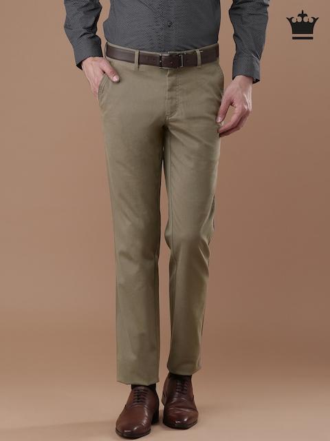 Louis Philippe Men Khaki Milano Slim Fit Self-Design Trousers