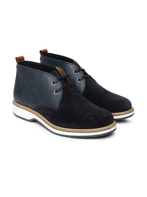 Tommy Hilfiger Men Blue Colourblocked Mid-Top Flat Boots