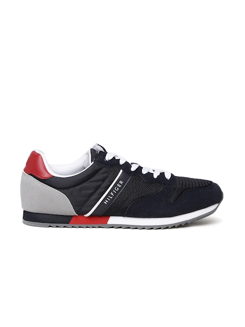 Tommy Hilfiger Men Navy Blue & Grey Colourblocked Sneakers