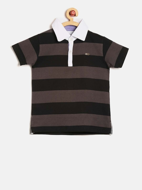 GKIDZ Boys Black & Brown Striped Polo Collar T-shirt  available at myntra for Rs.359