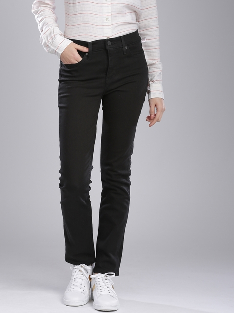 Levis Women Black Slim Fit Mid-Rise Clean Look Jeans