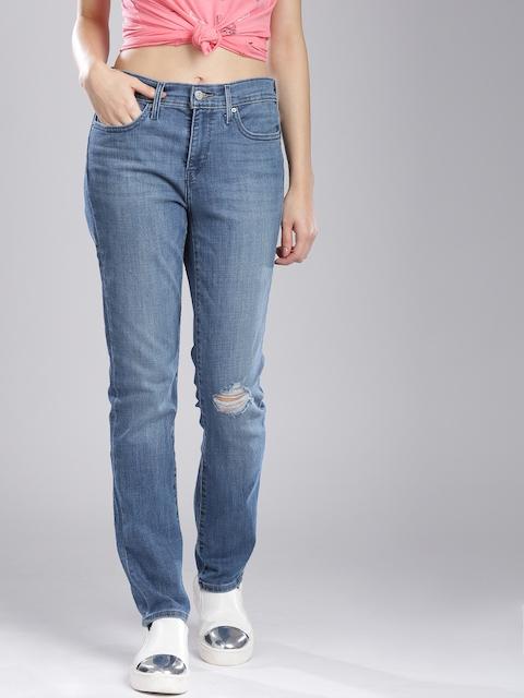 Levis Men Blue Slim Fit Mid-Rise Mildly Distressed Jeans