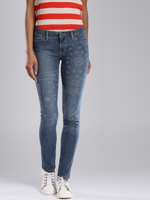 Levis Women Blue Printed Skinny Fit Jeans 711