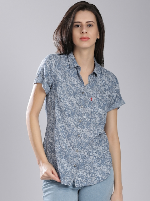 Levis Women Blue Regular Fit Printed Casual Shirt