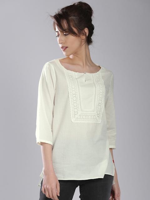 Levis Women Off-White Self-Design Top