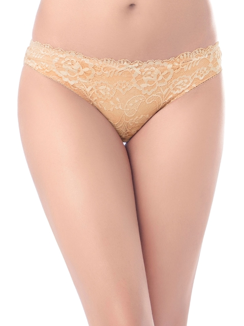 PrettySecrets Women Nude-Coloured Lace Bikini Briefs P0008