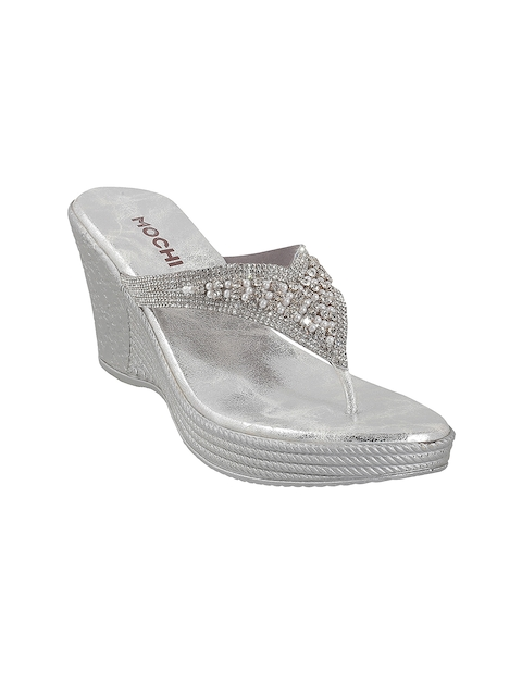 Mochi Women Silver-Toned Embellished Sandals
