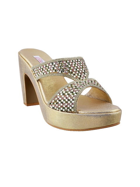 Mochi Women Gold-Toned Embellished Sandals