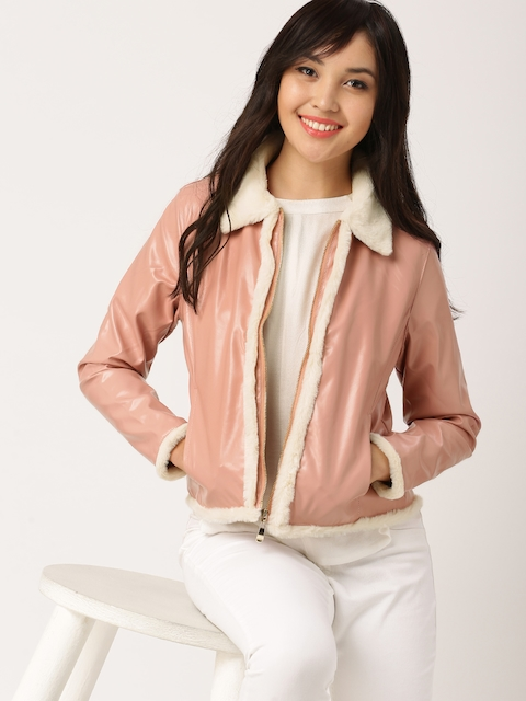 DressBerry Women Pink Solid Bomber Jacket