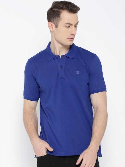 Monte Carlo Men Blue Solid Polo Collar T-shirt