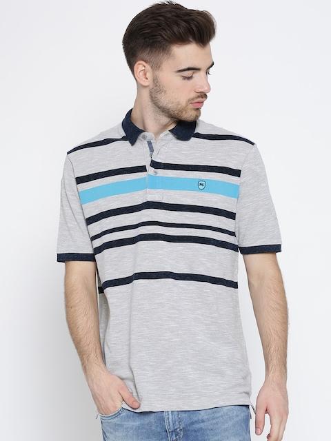 Monte Carlo Men Grey Melange Striped Polo Collar T-shirt