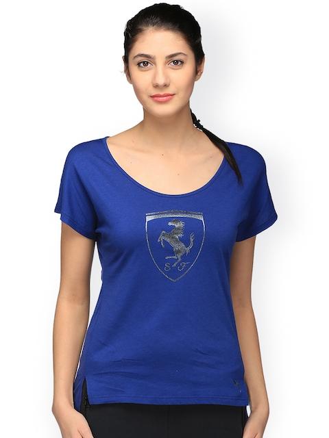 Puma Women Blue Printed Ferrari Round Neck T-shirt