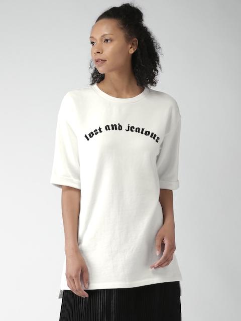 FOREVER 21 Women Off-White Printed Longline Sweatshirt