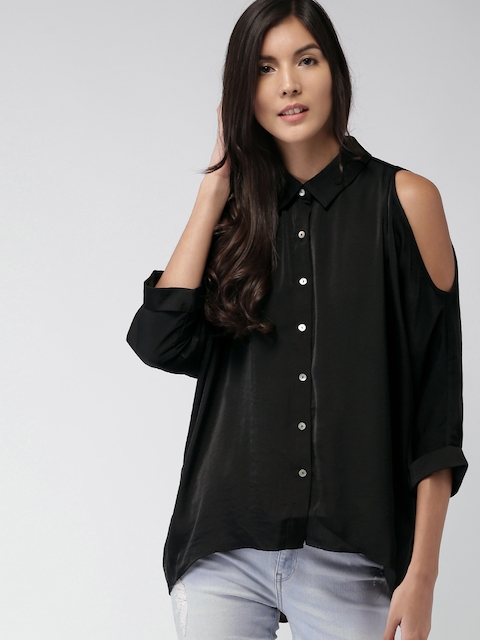 FOREVER 21 Women Black Casual Cold-Shoulder Shirt