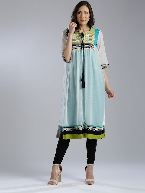 W Women White & Green Printed Layered Straight Kurta