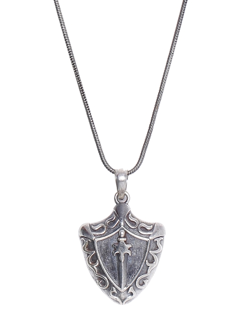 Dare by Voylla Men Silver-Toned Handcrafted Pendant with Chain