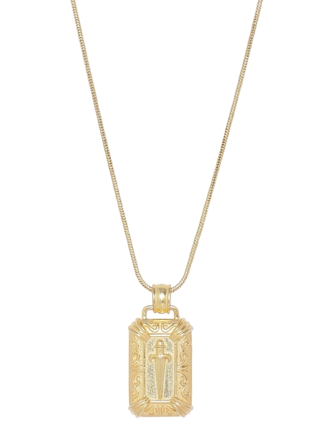 Dare by Voylla Men Gold-Toned Handcrafted Pendant with Chain