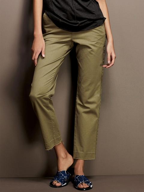 next Women Olive Green Regular Fit Solid Regular Trousers