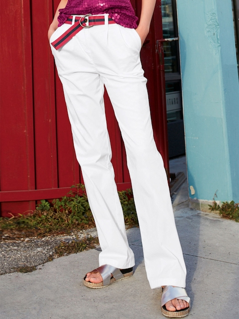 next Women White Solid Trousers