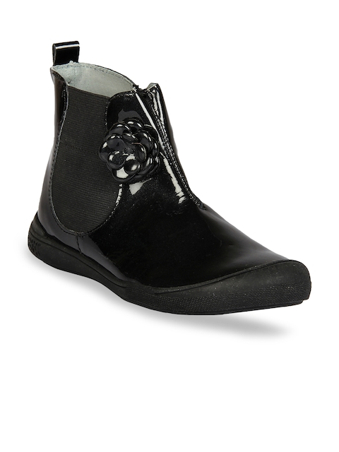 Beanz Girls Black Solid Leather High-Top Flat Boots