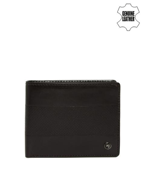 Peter England Men Brown Textured Genuine Leather Wallet