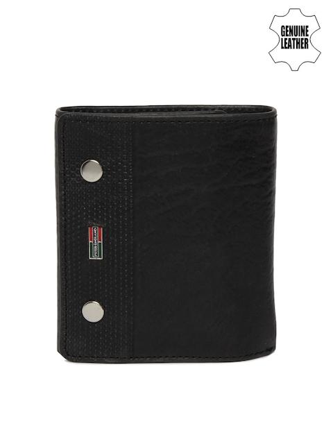 Peter England Men Black Solid Three Fold Wallet