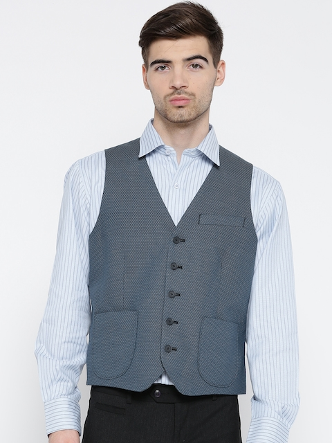 Lombard Blue Printed Waistcoat