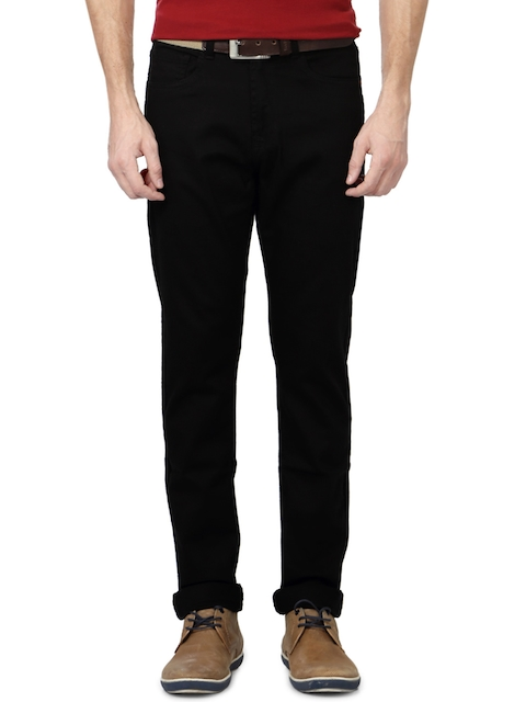 Peter England Men Black Tapered Fit Mid-Rise Clean Look Jeans