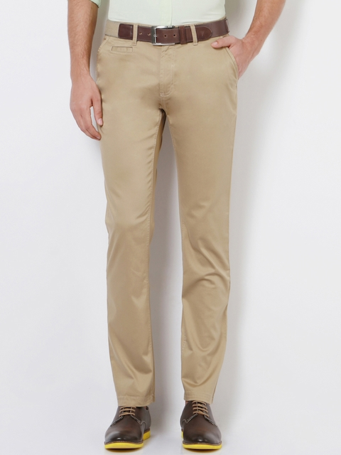 Peter England Men Beige Skinny Fit Solid Chinos