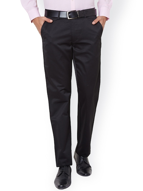 Peter England Men Grey Solid Formal Trousers