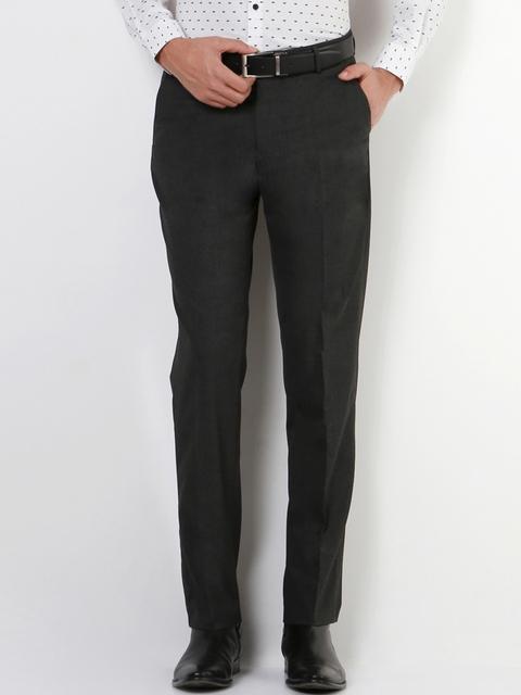 Peter England Men Black Slim Fit Solid Formal Trousers