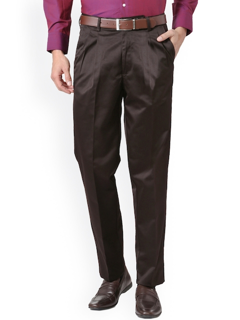 Peter England Men Brown Solid Formal Trousers