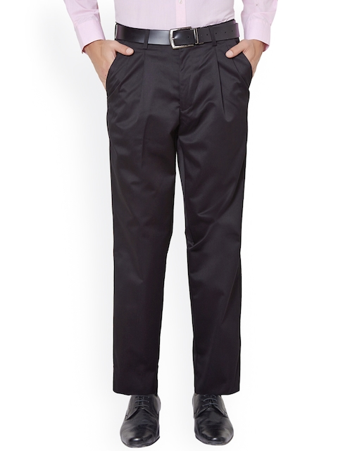 Peter England Men Black Solid Formal Trousers