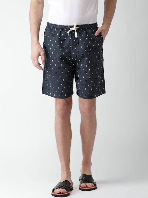 Tommy Hilfiger Men Navy Blue Printed Regular Fit Shorts