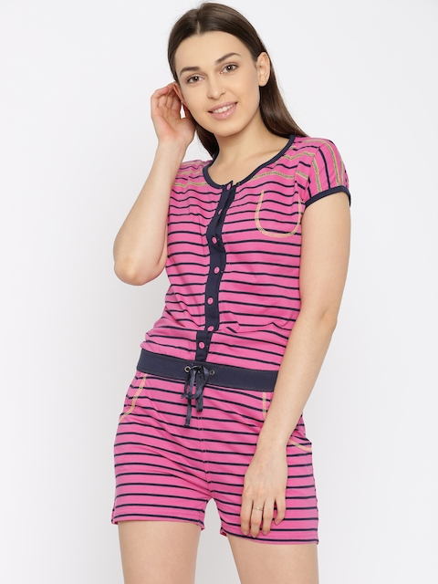 Sweet Dreams Pink Striped Lounge Playsuit 2112A5
