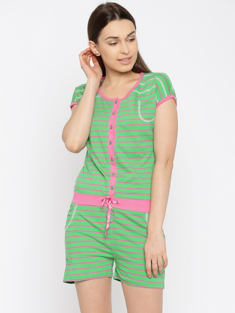 Sweet Dreams Green & Pink Striped Lounge Playsuit 2112A5