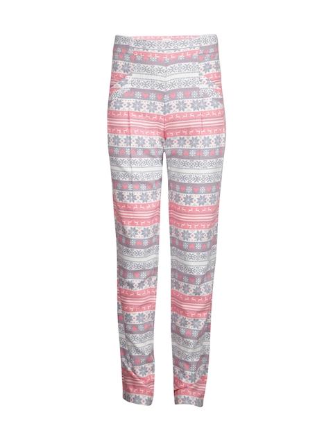 Gini and Jony Girls White & Pink Printed Trousers